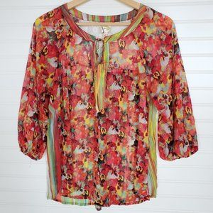 Fig and Flower Anthro Red Boho Top PL